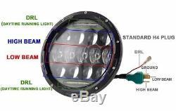 7'' 75W LED Headlight H4 DRL High Low Beam For Jeep Wrangler CJ JK TJ Offroad