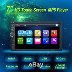 7 Car Radio Double DIN Blueteeth Stereo Player Touchscreen FM Backup Camera Kit