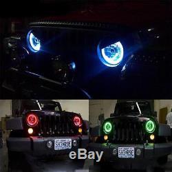 7 LED Halo Headlights + Fog Light Combo Kit for Jeep Wrangler JK 2007-2018