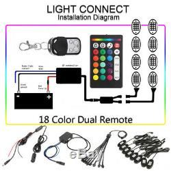 8X RGB LED Rock Light Wireless Dual Remote Music Offroad Truck Lamp Multi-color