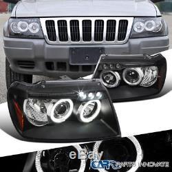 99-04 Jeep Grand Cherokee Black LED Halo Projector Headlights Head Lights Lamps