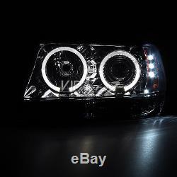 99-04 Jeep Grand Cherokee WJ 4WD Graphite Smoke High Stop Light Headlamps LED Sm