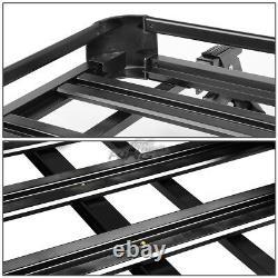 Aluminum Roof Rack Luggage Carrier Basket 50 x 38 Cargo Box + Cross Bar Black