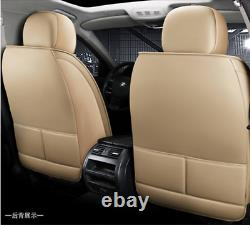 Beige Luxury Leather Car Seat Cover Full Set Front&Rear Seat Cushion Protector