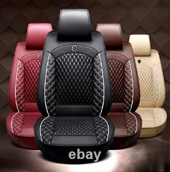 Beige Standard Edition Full PU Leather Seat Cover Front & Rear Set For Car SUV