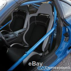 Black/Gray Cloth Material Fully Reclinable Sport Racing Seats with Slider Rail 2PC