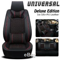 Black Special leather car seat covers Front Rear Full Set Ice Silk Leather Auto