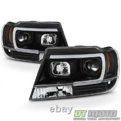 Blk 1999-2004 Jeep Grand Cherokee OPTIC LED Tube Projector Headlights Headlamps