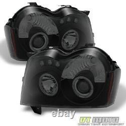 Blk Smoked 2005-2007 Jeep Grand Cherokee LED Halo Projector Headlights Headlamps