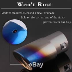 Burnt Blue Car Exhaust Muffler Pipe Tail Universal USA Stainless For Truck SUV