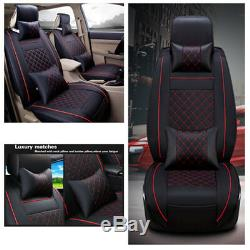 Car Front Seat Covers withPillows Comfortable Wearproof PU Leather for 5sits Cars