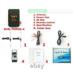 Car Mobile HD DVB-T MPEG4 Dual Antenna Digital TV Receiver Top Box Tuner 4 Video
