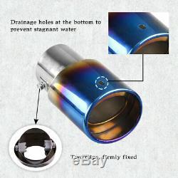 Car Muffler Tip Exhaust Pipe Tail Burnt Blue Titanium Stainless Steel Car Rear
