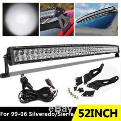 Curved 52inch LED Light Bar Spot Flood+Wiring+Bracket for Silverado/Sierra 99-06