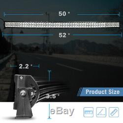 Curved LED Light Bar 50inch +22'' Combo +4'' Pods Offroad For Jeep Truck Marine