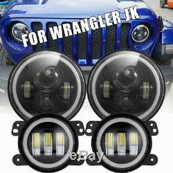 DOT LED 7 Round Headlight + Fog Light Kit Combo For Jeep Wrangler JK 2007-2018