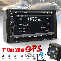 Double 2 DIN Car Stereo GPS Navigation HD MP5 Player bluetooth Radio In Dash+Cam