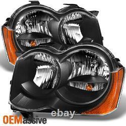 Fit 2008-2010 Jeep Grand Cherokee Halogen Type Black Headlights L+R Lamps