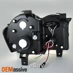 Fits 05-07 Jeep Grand Cherokee Black Bezel Dual Halo Projector LED Headlights