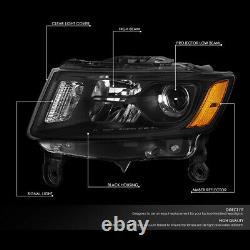 For 14-16 Jeep Grand Cherokee Black/amber Corner Projector Headlight Head Lamps