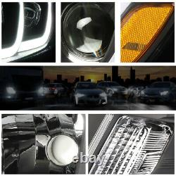 For 14-16 Jeep Grand Cherokee LED DRL Bar Projector Headlight/Lamps Black/Amber