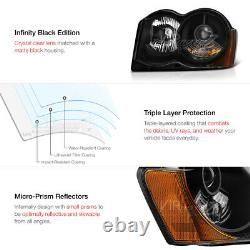 For 2008-2010 Jeep Grand Cherokee OFF-ROAD Black projector Headlight Lamp Pair