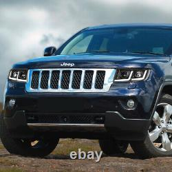 For 2011-2013 Jeep Grand Cherokee Led Drl Projector Headlight/lamps Black/clear