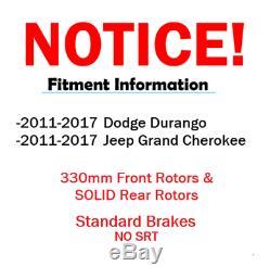 For 2011-2017 Durango Grand Cherokee 330mm Front Rear Brake Rotors Ceramic Pads