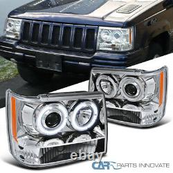 For 93-96 Jeep Grand Cherokee Clear Halo Projector Headlights Lamps Left+Right