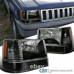 For 93-96 Jeep Grand Cherokee SUV Black Headlights with Bumper Corner Lampsair