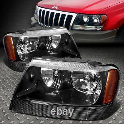 For 99-04 Jeep Grand Cherokee Wj Black Housing Amber Corner Headlight Head Lamp