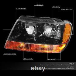 For 99-04 Jeep Grand Cherokee Wj Black Housing Amber Corner Headlight Headlamps