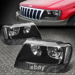 For 99-04 Jeep Grand Cherokee Wj Black Housing Clear Corner Headlight Head Lamp