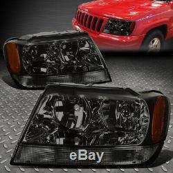 For 99-04 Jeep Grand Cherokee Wj Smoked Housing Amber Corner Headlight Head Lamp
