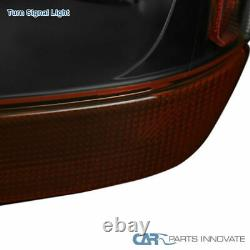 For 99-04Jeep Grand Cherokee Black Headlights Amber Turn Signal Lamps Left+Right