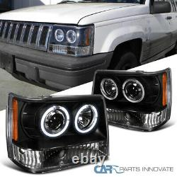 For Jeep 93-96 Grand Cherokee Black Twin Halo Projector Headlights Lamps Pair