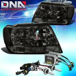 For Jeep Grand Cherokee 99-04 Wj Laredo Smoked/clear Headlights+8000k Hid Kit
