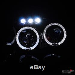Glossy Black 1999-2004 Jeep Grand Cherokee Smoke LED Halo Projector Headlights