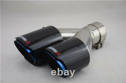 Glossy Real Carbon Fiber Car Exhaust Pipe Dual Pipe Tail Muffler Tip -Right Side