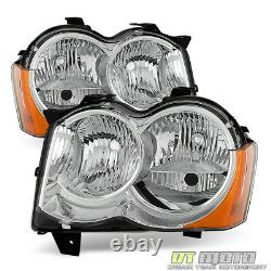 Halogen 2008-2010 Jeep Grand Cherokee Factory Headlights Headlamps Left+Right