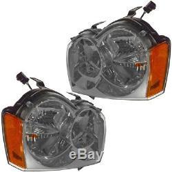 Headlights Headlamps Pair Set for 05 Jeep Grand Cherokee New