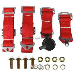 JDM Red Racing Seats with Slider+Pair 4 Point Camlock Harness Seat Belts