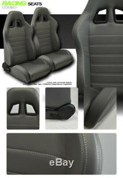JDM SP Style Gray PVC Leather Reclinable Racing Bucket Seats withSliders Pair V17