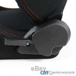 JDM Speed Racing Seats Reclinable Style Black Red Stitching Pair