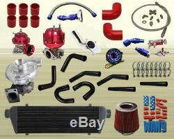JDM Universal T3/T4 Turbo Kit Turbocharger+Intercooler+Wastegate+Bov+Gauge Red