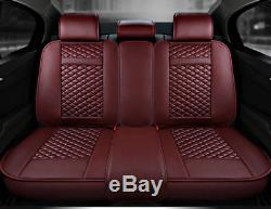 Luxury Deluxe Full Set Car Seat Cover PU Leather Front Rear 5-Seats With Pillow