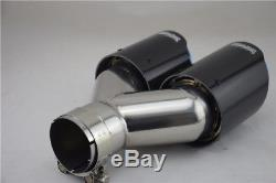 Oval Carbon Fiber Exhaust Dual Tip Blue Steel Car 2.5 Muffler Pipe Universal 1x