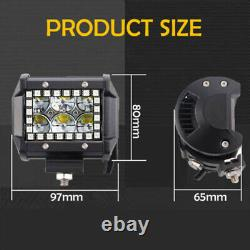 Pair 4 60W Led Work Light Bar Spot Fog Pods RGB Halo Color Changing Chasing Kit