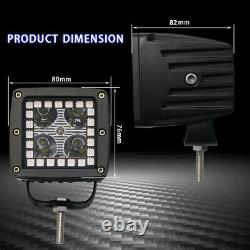 Pair 48W LED Work Light 3 inch Cube Pods Bluetooth RGB Halo & Wiring Harness