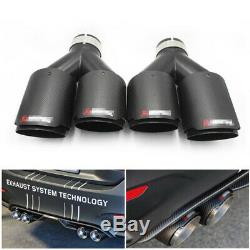 Pair Akrapovic Real Carbon Fiber Exhaust Tip Dual Pipe ID2.5 63mm OD3.5 89mm